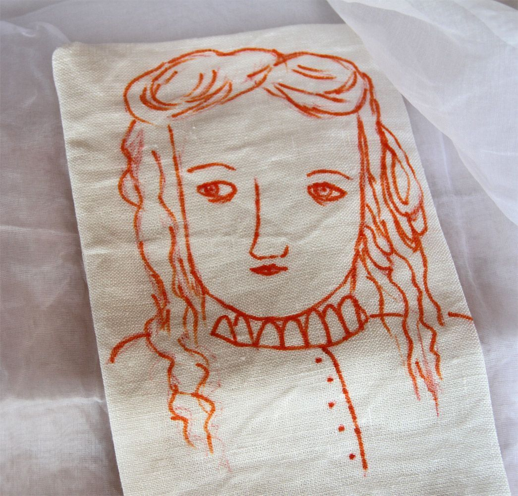 painting girl on fabric